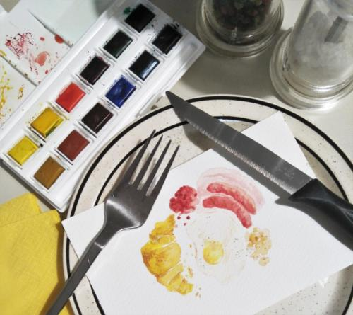 Watercolour brunch illustration